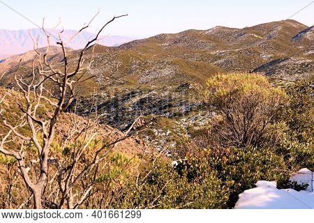 High Desert Mountain Ridge Covered With Chaparral Plants Surrounded By Snow During Sunset Taken In T