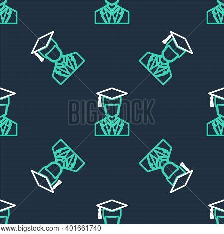 Line Male Graduate Student Profile With Gown And Graduation Cap Icon Isolated Seamless Pattern On Bl