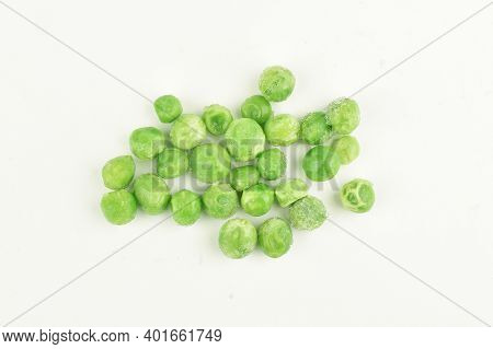 Top View Of Frozen Peas Isolated On White Background
