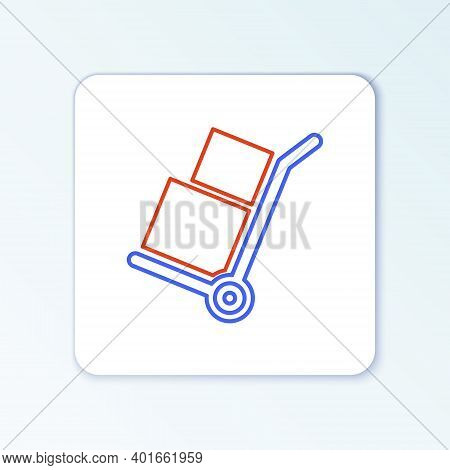 Line Hand Truck And Boxes Icon Isolated On White Background. Dolly Symbol. Colorful Outline Concept.