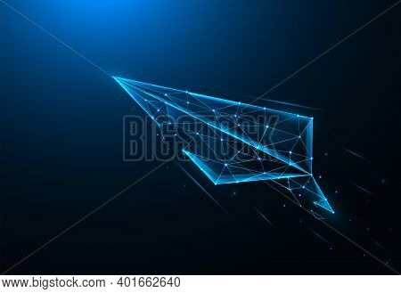 Paper Airplane Low Poly Art. Launch Paper Airplane Polygonal Vector Illustrations On A Blue Backgrou