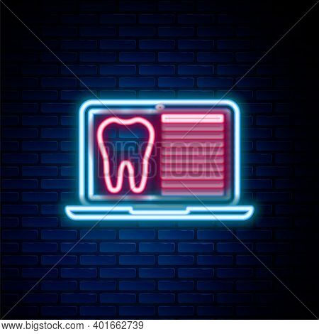 Glowing Neon Line Laptop With Dental Card Or Patient Medical Records Icon Isolated On Brick Wall Bac