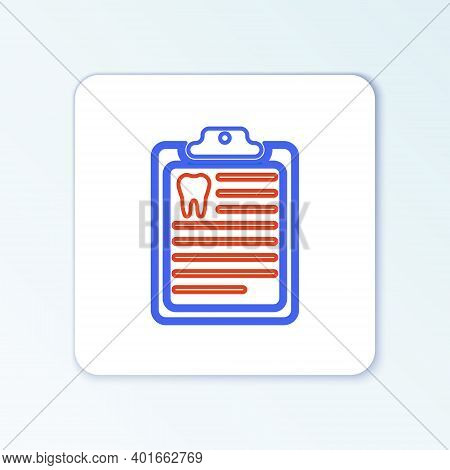 Line Clipboard With Dental Card Or Patient Medical Records Icon Isolated On White Background. Dental