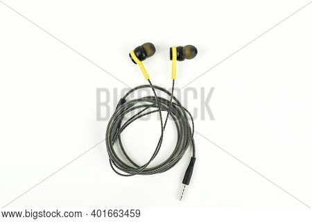 Earphones Isolated On White Background With Clipping Path