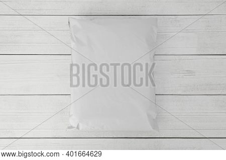 Blank White Plastic Bag Packaging Mockup On Wooden Background, Online Shopping Packaging, Packaging