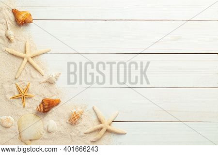 Summer Background With Beach Objects - Starfish, Seashell On White Wood Table Background Top View Wi