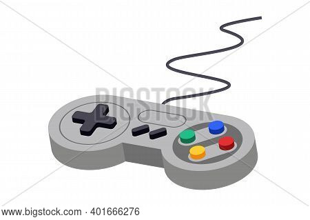 Joystick Control Vector Video Game Controller. Play Console Icon Symbol. Toy Keypad Retro Design.