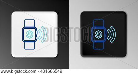Line Contactless Payment Icon Isolated On Grey Background. Smartwatch With Nfc Technology Making Wir