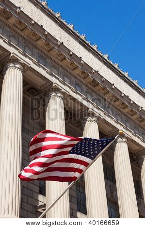 American Flag In  The Department Of Commerce Building In Washington