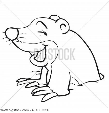 Sketch Of Cute Mole Character, Coloring Book, Cartoon Illustration, Isolated Object On White Backgro