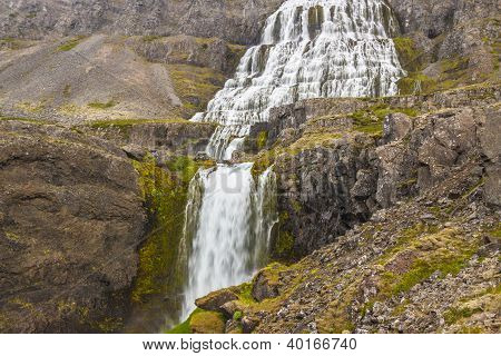 Beauty Big Dynjandi Waterfall - Iceland, Westfjords.