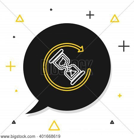 Line Waiting Icon Isolated On White Background. Wait Time Icon. Hourglass Clock. Colorful Outline Co
