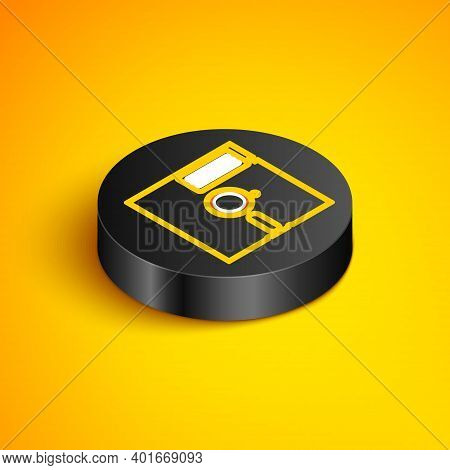 Isometric Line Floppy Disk In The 5.25-inch Icon Isolated On Yellow Background. Floppy Disk For Comp