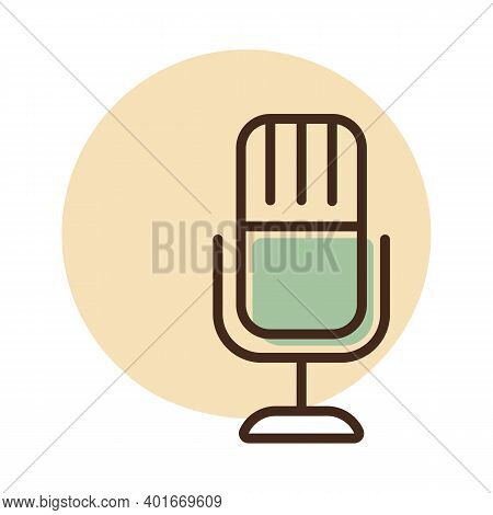 Retro Microphone Vector Flat Icon. Graph Symbol For Music And Sound Web Site And Apps Design, Logo,