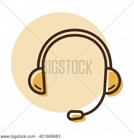 Headset. Headphones With Microphone Vector Icon. Graph Symbol For Music And Sound Web Site And Apps