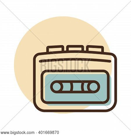 Cassette Player Vector Flat Icon. Music Sign. Graph Symbol For Music And Sound Web Site And Apps Des