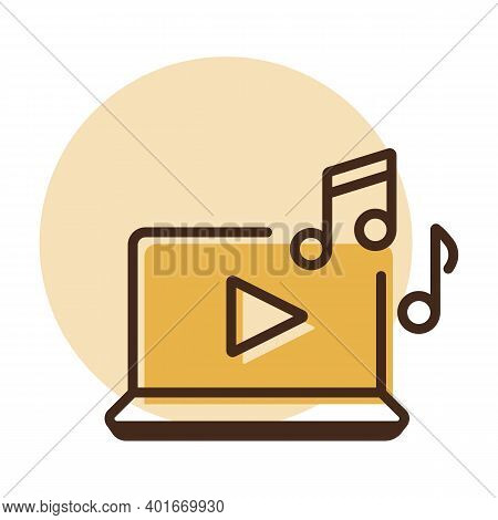 Listen To Music On Laptop Vector Icon. Music Sign. Graph Symbol For Music And Sound Web Site And App