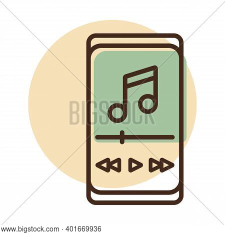 Smartphone With Music Player App Vector Icon. Music Sign. Graph Symbol For Music And Sound Web Site