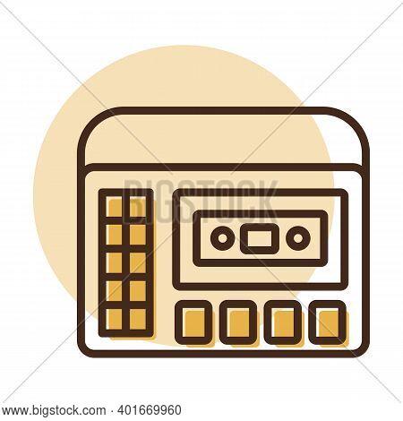 Cassettophone 70s Music. Retro Cassette Recorder Player Vector Icon. Graph Symbol For Music And Soun