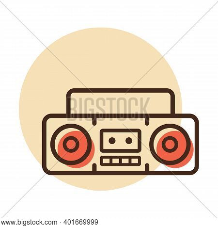 Boombox Cassette Stereo Recorder Retro Design From The Eighties Vector Icon. Graph Symbol For Music