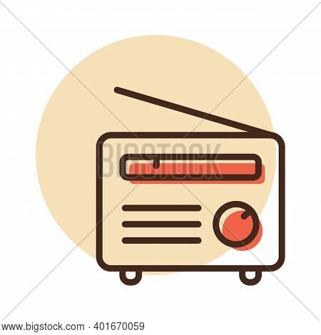 Retro Radio Vector Flat Icon. Graph Symbol For Music And Sound Web Site And Apps Design, Logo, App,