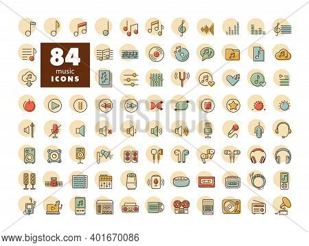 Music Vector Flat Icon Set. Graph Symbol For Music And Sound Web Site And Apps Design, Logo, App, Ui