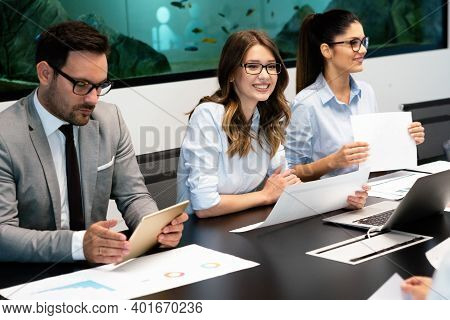 Succesful Businesswoman Ceo Of Company. Business Success Office Meeting Concept