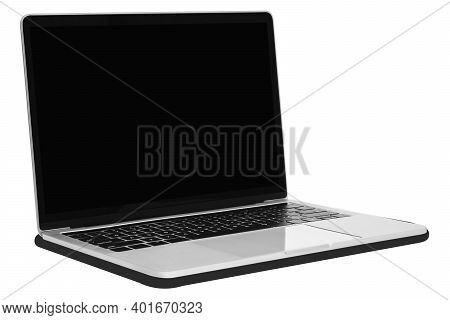 Front View Of A Modern Generic Silver Metallic Laptop With A Blank Black Screen And Isolated On A Wh