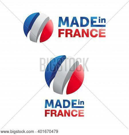 Made In France Label Tag Sticker With 3d French Flag In Spherical Form. Country Of Origin Icon.