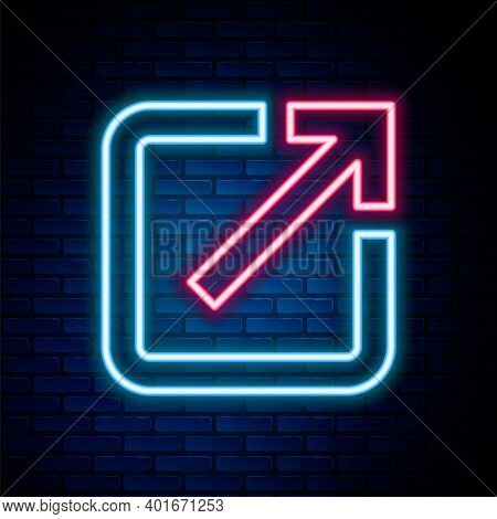 Glowing Neon Line Open In New Window Icon Isolated On Brick Wall Background. Open Another Tab Button