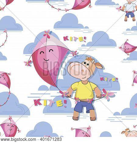 Cute Calf. Pink Kite. Calf Flying Kite. Makar Sankranti Festival. Flat Kite Seamless Pattern, Templa