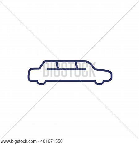 Limo Car, Limousine Line Icon On White