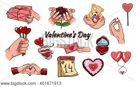 Valentines Day Icons: Teddy Bear, Letter, Ring With A Diamond, Sweetmeats, Glasses Of Wine, Heart, R