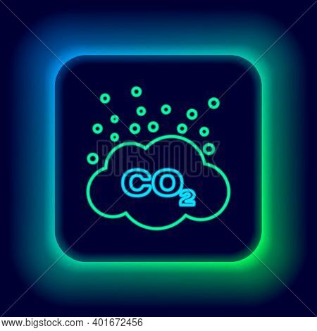 Glowing Neon Line Co2 Emissions In Cloud Icon Isolated On Black Background. Carbon Dioxide Formula S