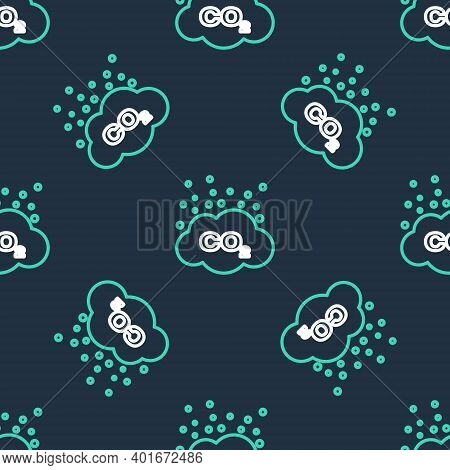 Line Co2 Emissions In Cloud Icon Isolated Seamless Pattern On Black Background. Carbon Dioxide Formu