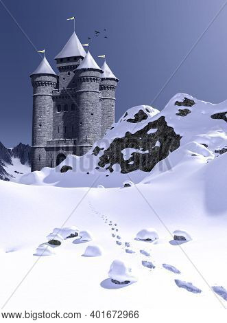 Footprints Leading To Enchanting Fairy Tale Princess Castle In The Snowy Mountains, 3d Render.