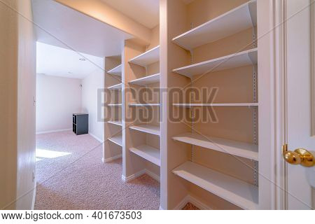 Walk In Closet Or Vault Interior With Carpet On Floor And Empty Wall Shelves