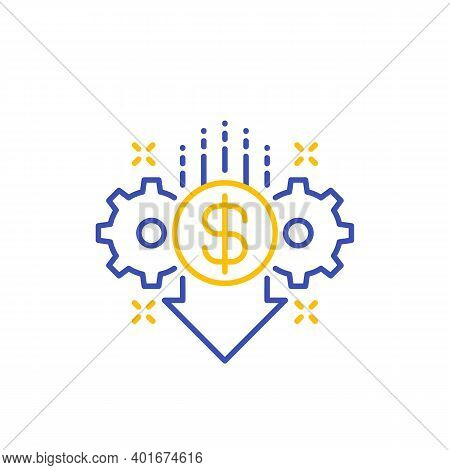 Cost Reduction, Reduce Price Icon, Line Vector