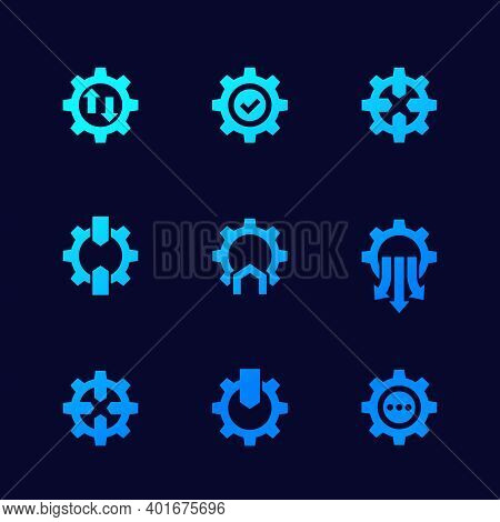 Integration Icons With Gears For Web, Vector