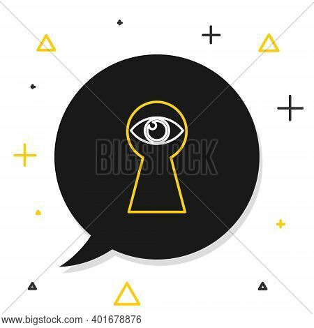 Line Keyhole With Eye Icon Isolated On White Background. The Eye Looks Into The Keyhole. Keyhole Eye