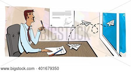 Man In An Armchair At A Work Table Looks Up Dreamily. Office Routine. Write A Statement. Paper Plane