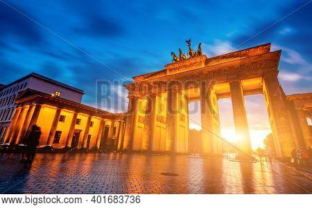 Beautiful Brandenburg Gate in Berlin at evening, Germany