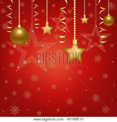 Christmas Red Card With Christmas Balls And Star