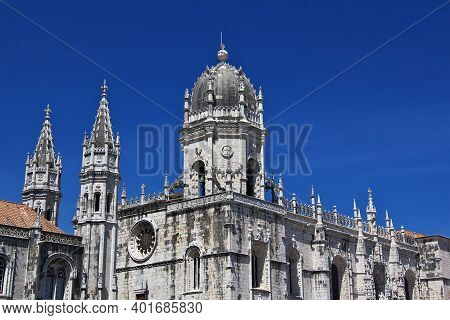 Belem, Lisbon, Portugal - 10 May 2015: Jeronimos Monastery In Belem, Lisbon City, Portugal
