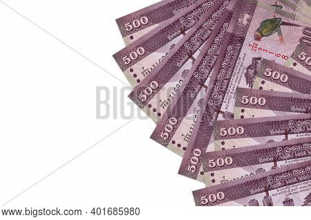500 Sri Lankan Rupees Bills Lies Isolated On White Background With Copy Space. Rich Life Conceptual