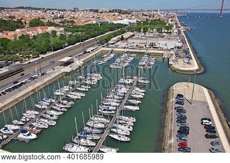 Belem, Lisbon, Portugal - 10 May 2015: The Marina In Belem, Lisbon City, Portugal