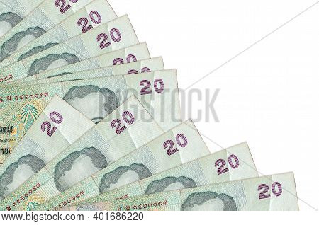 20 Thai Baht Bills Lies Isolated On White Background With Copy Space Stacked In Fan Close Up. Payday