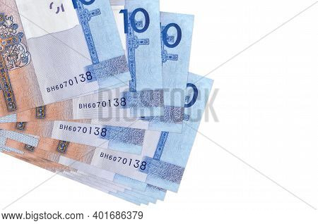 10 Belorussian Rubles Bills Lies In Small Bunch Or Pack Isolated On White. Mockup With Copy Space. B