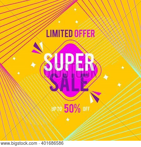 Super Sale Banner. Up To 50% Off Banner For Sale With Super Sale Sign.