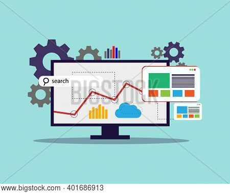 Search Engine Optimization, Seo, Vector Illustration With Computer Monitor, Gear Search Bar, Web Lay